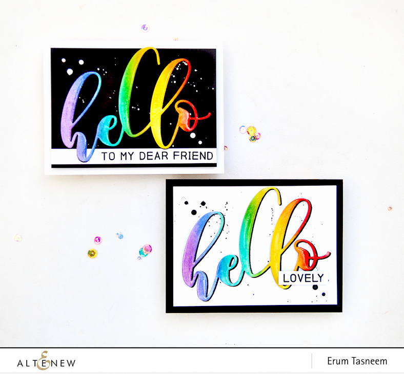 Altenew Mega Hello Die and Mega Greetings Stamp Set | Erum Tasneem | @pr0digy0