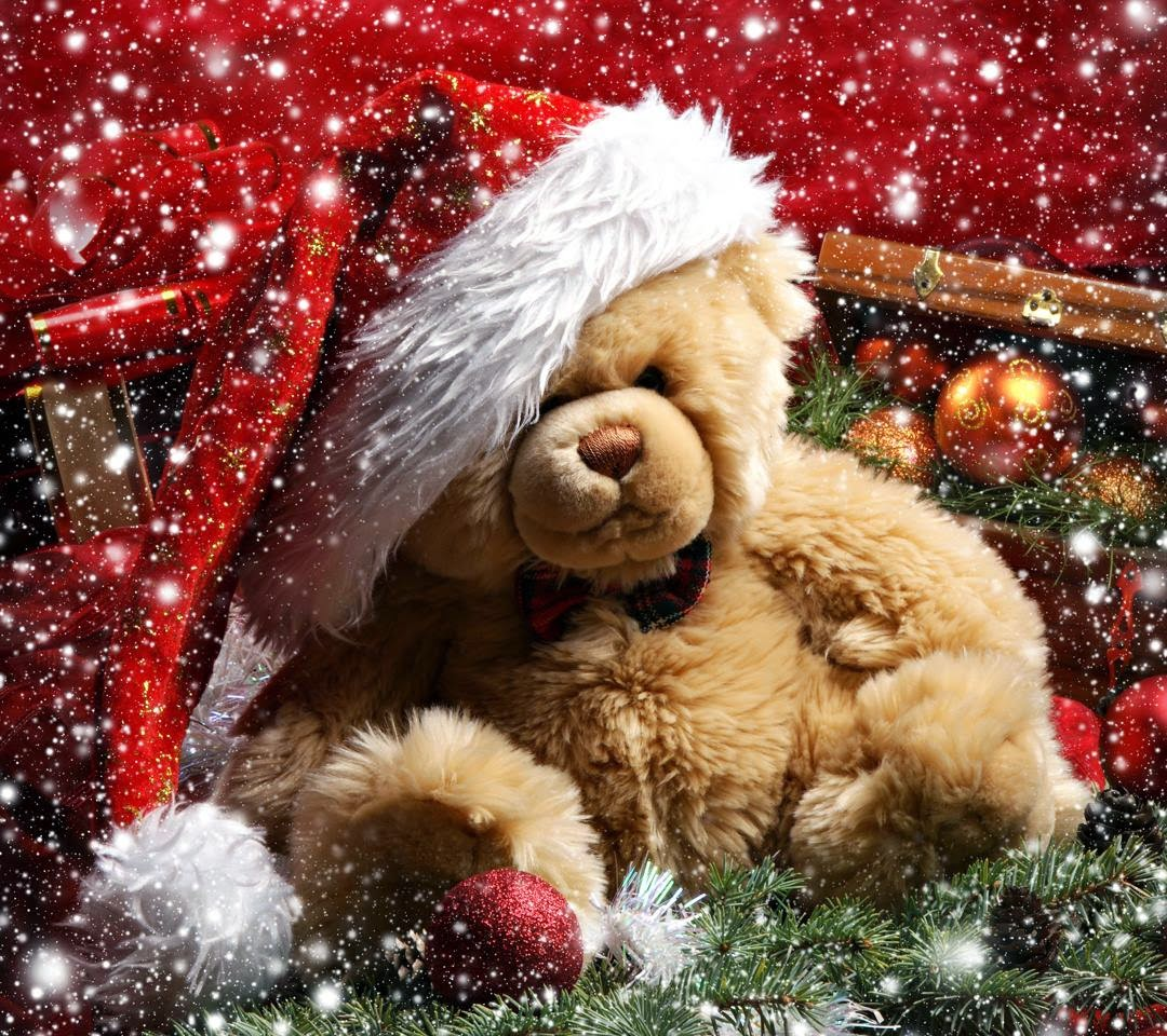 teddy bear, christmas, snow, merry christmas