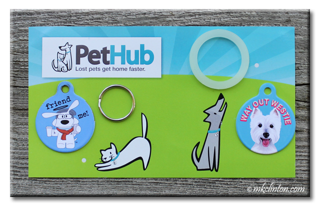 PetHub dog tags with Way Out Westie and Friend Me tags