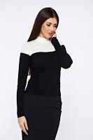 Pulover StarShinerS negru casual tricotat mulat • StarShinerS