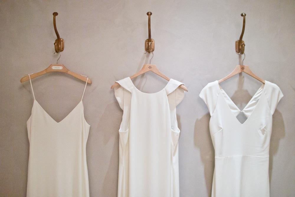 BHLDN Wedding dresses in fitting room