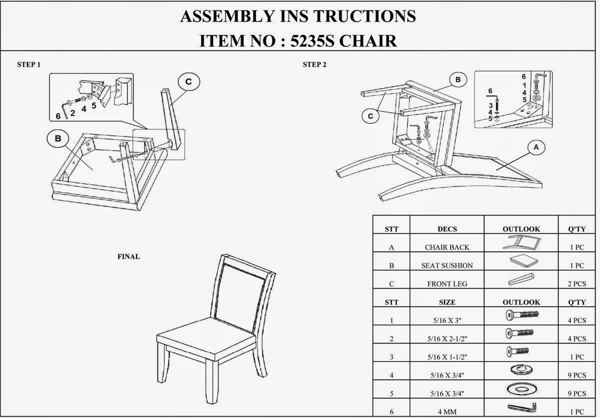 Homelegance Cicero 5235 Assembly Instructions