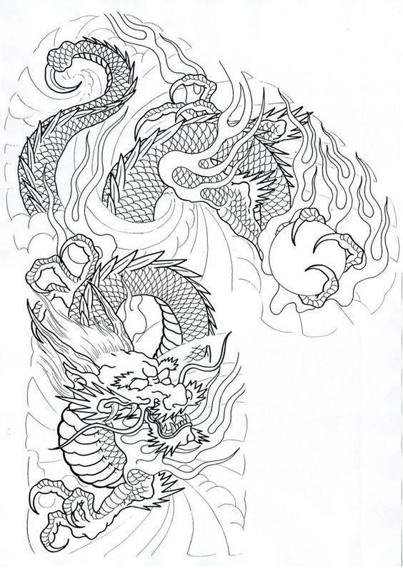 diseño de un tatuaje de dragón
