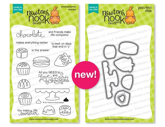Love & Chocolate Stamp set and coordinating Die Set by Newton's Nook Designs #newtonsnook