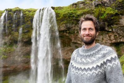 Icelandic man wearing typcial lopapeysa sweater