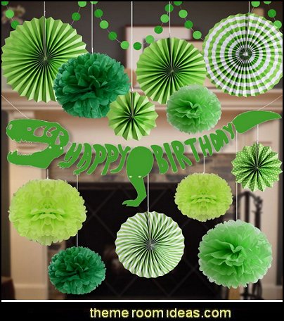Green Tissue Pom Poms Flower For Dinosaur Birthday Baby Showers Party Decorations Supplies