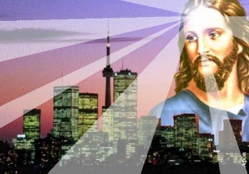 #PraCegoVer: Luz do Cristo iluminando a cidade.