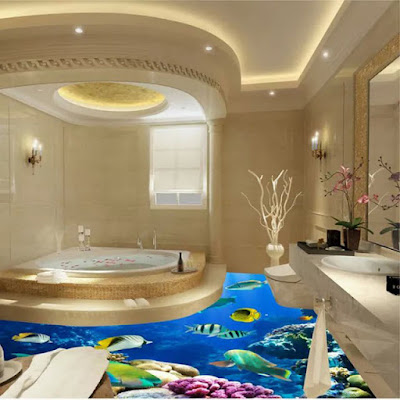 Epoxy painted 3d flooring art and 30 3d bathroom floor for Bathroom 3d floor designs