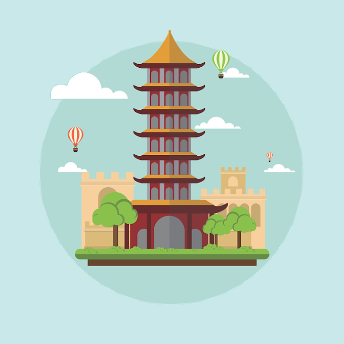Cartoon China Landscape with building free vector