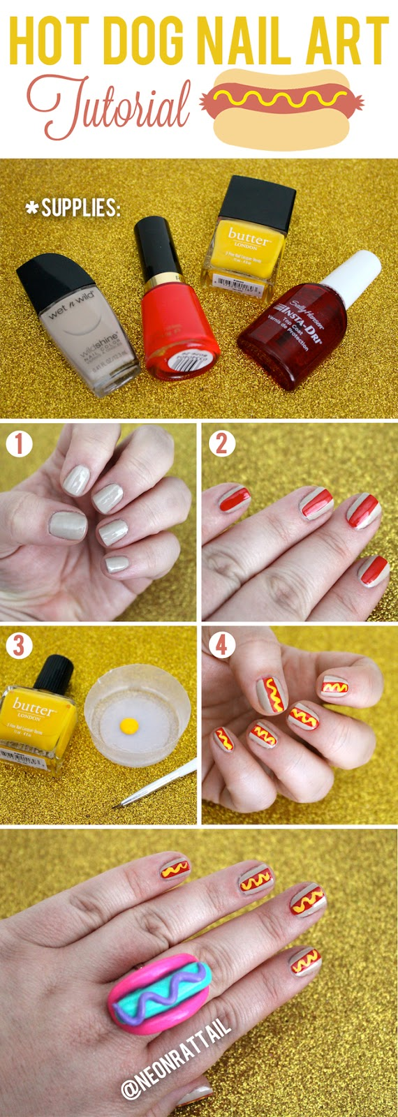 Beauty Hot Dog Nail Art Tutorial Neon Rattail