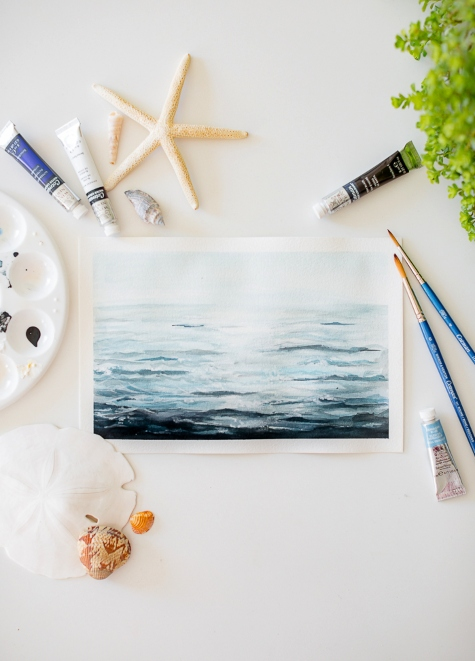 How to Paint Ocean Water Waves Watercolor Painting