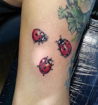 Leg Realistic Ladybug Tattoo
