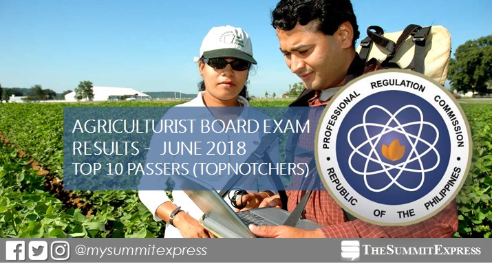 RESULT: June 2018 Agriculturist board exam top 10 passers
