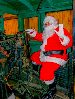 Santa in Shay locomotive at PA Lumber Museum 2016