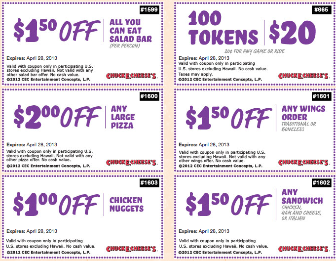 Don't miss this week Chuck E Cheese pizza menu specials, like the pizza coupons and deals, including 2 large pizzas for only $22 and save money with Chuck E Cheese Coupons (an average of $10). Download coupons and save money in participating US stores.