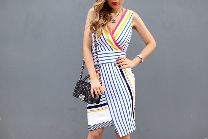 Donna Morgan Stripe Scuba Body Con Dress with Asymmetrical Hem, stripe dress, dress, date night dress, chanel bag, hermes CDC bracelet, chanel necklace, schutz sandals, date night outfit ideas