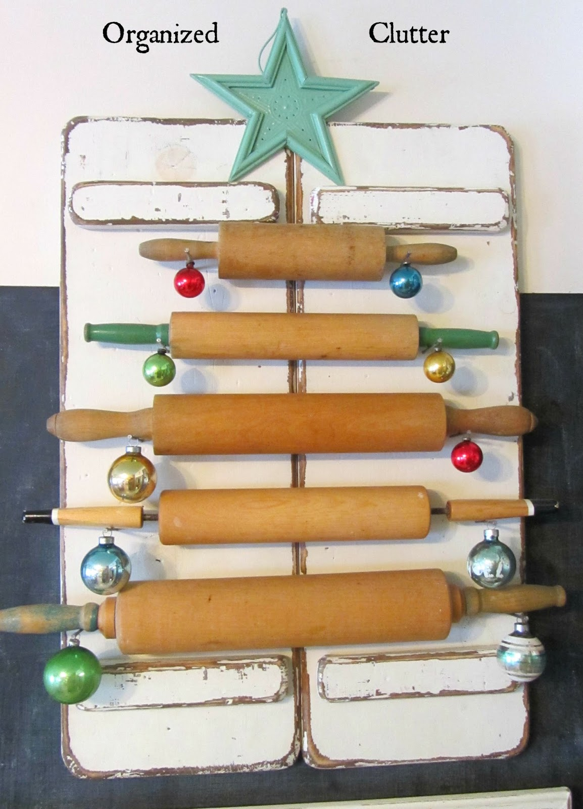 Re-Purposed Rolling Pin Christmas Tree www.organizedclutterqueen.blogspot.com