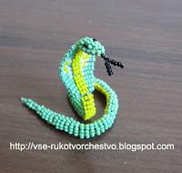 Змея из бисера очковая кобра. Схема