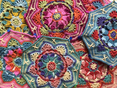Persian Tiles crochet blanket in progress