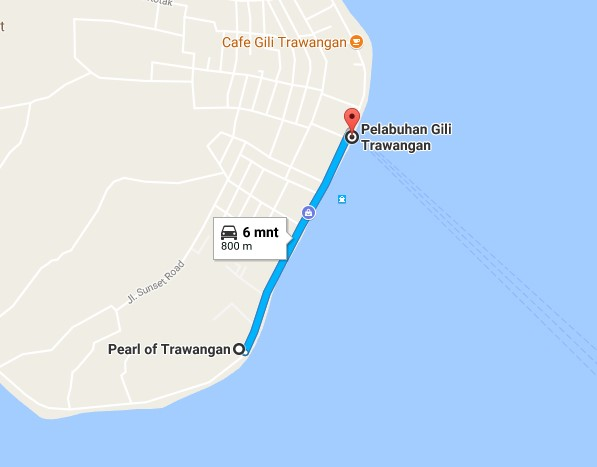 Map Hotel Di Obyek Wisata Gili Trawangan