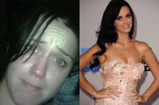 fotos de famosos antes e depois da maquiagem - katy perry