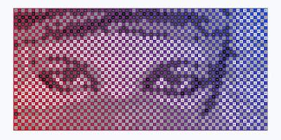 Pixellized Pop Art mosaic portrait of a veiled woman's Eyes
