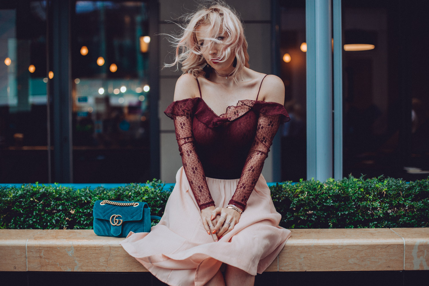 Gucci Velvet Marmont, Miu Miu Sunglasses, lace body and pink skirt. fashion blogger style