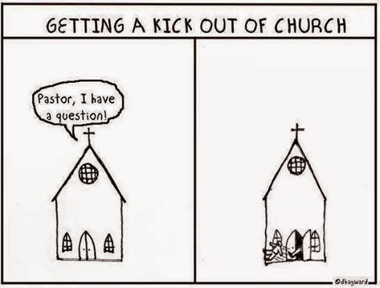 Getting a Kick Out Of Church funny joke cartoon picture