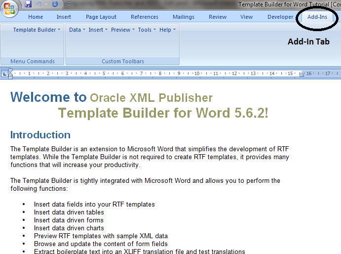 Step 3 Install Xml Publisher Into Your System Open Ms Word Once It Is Installed You Will Be Able To See Add Ins Tab In