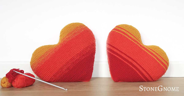 Big Valentines Day Pillow - Tunisian crochet