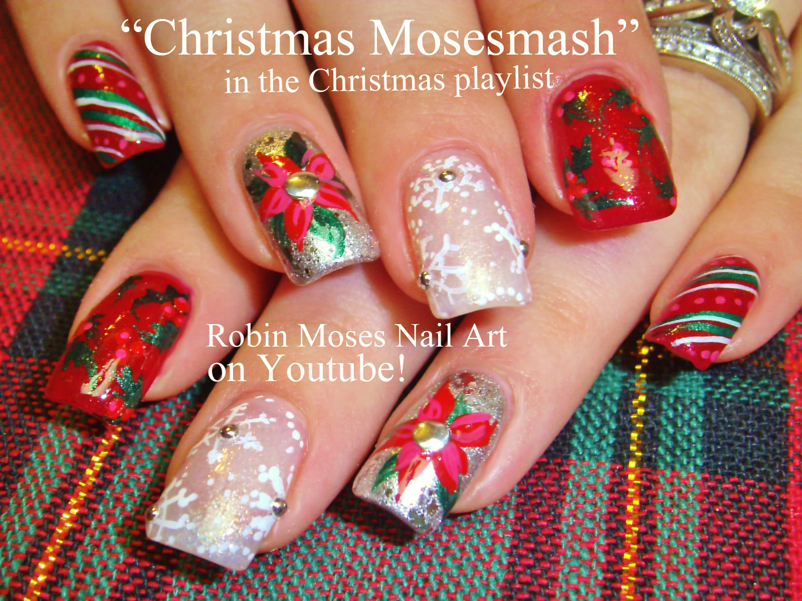 Nail Art by Robin Moses: Christmas Poinsetta Nail Art xmas Flower ...