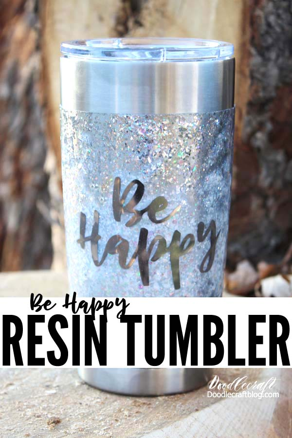 Silver glitter tumbler coated in high gloss resin with metallic vinyl adhesive foil, great for handmade gifts or to sell.