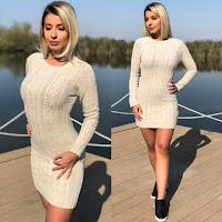 Rochie scurta crem tricotata pentru iarna groasa •
