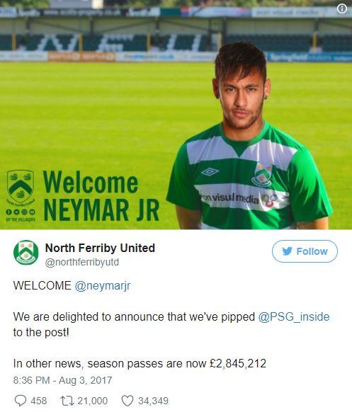 Viral Tweet North Ferriby United AkanTransfer Neymar yang Jadi Rekor Dunia, Kok Bisa Ya?
