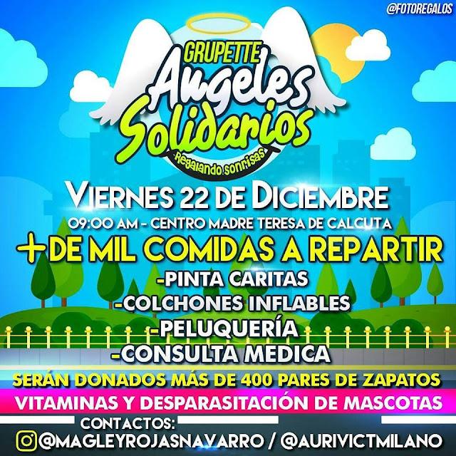 """Jornada social del Grupette de Magley """"Ángeles Solidarios"""" para viernes 22 de diciembre en San Fernando."""