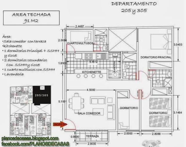 Plano de departamento de 3 dormitorios en 86m2 planos de for Departamentos en planos