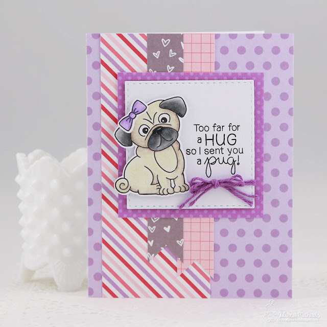 Pug Hugs Card by Juliana Michaels featuring Newton's Nook Designs Pug Hugs Stamp and Die set and playing along with the Inky Paw Challenge No. 40