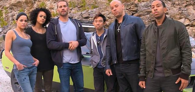 Paul Walker alături de colegi săi pe platourile de filmare pentru Fast And Furious 7