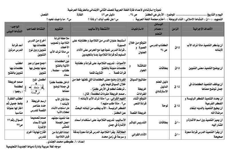 تحضير اللغة العربية للصف الثاني الابتدائي بالطريقة العرضية 2019