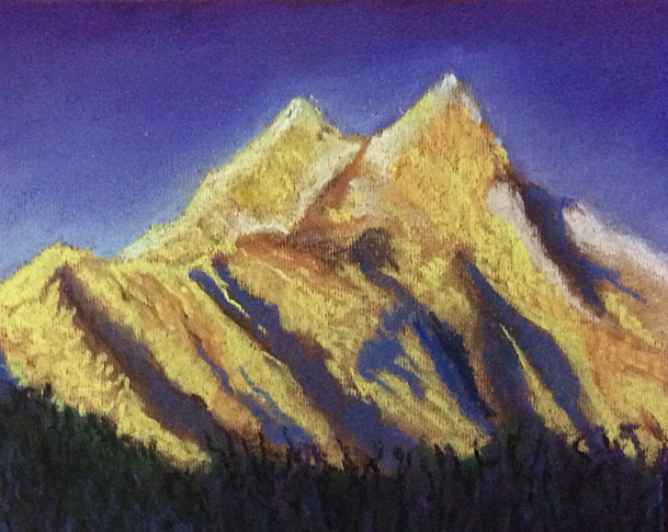 Soft Pastel painting of landscape with mountains done by participant during a soft pastel workshop by Manju Panchal