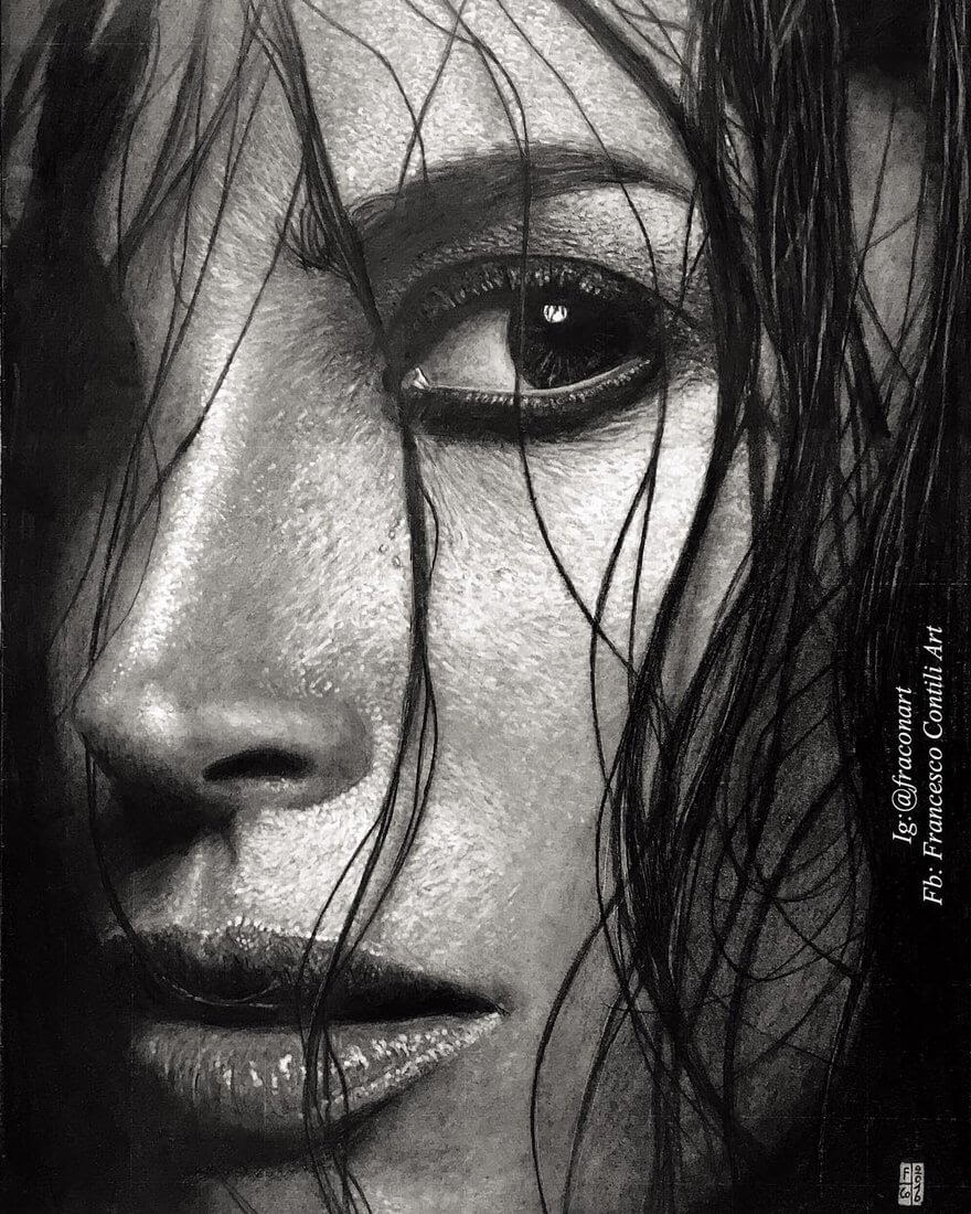 08-Christy-Turlington-Francesco-Contili-Realistic-Graphite-and-Charcoal-Portrait-Drawings-www-designstack-co