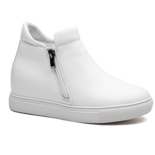 White Women Casual Elevator Shoes Slip-On Hidden High Heel Shoes 7CM/2.76 Inches