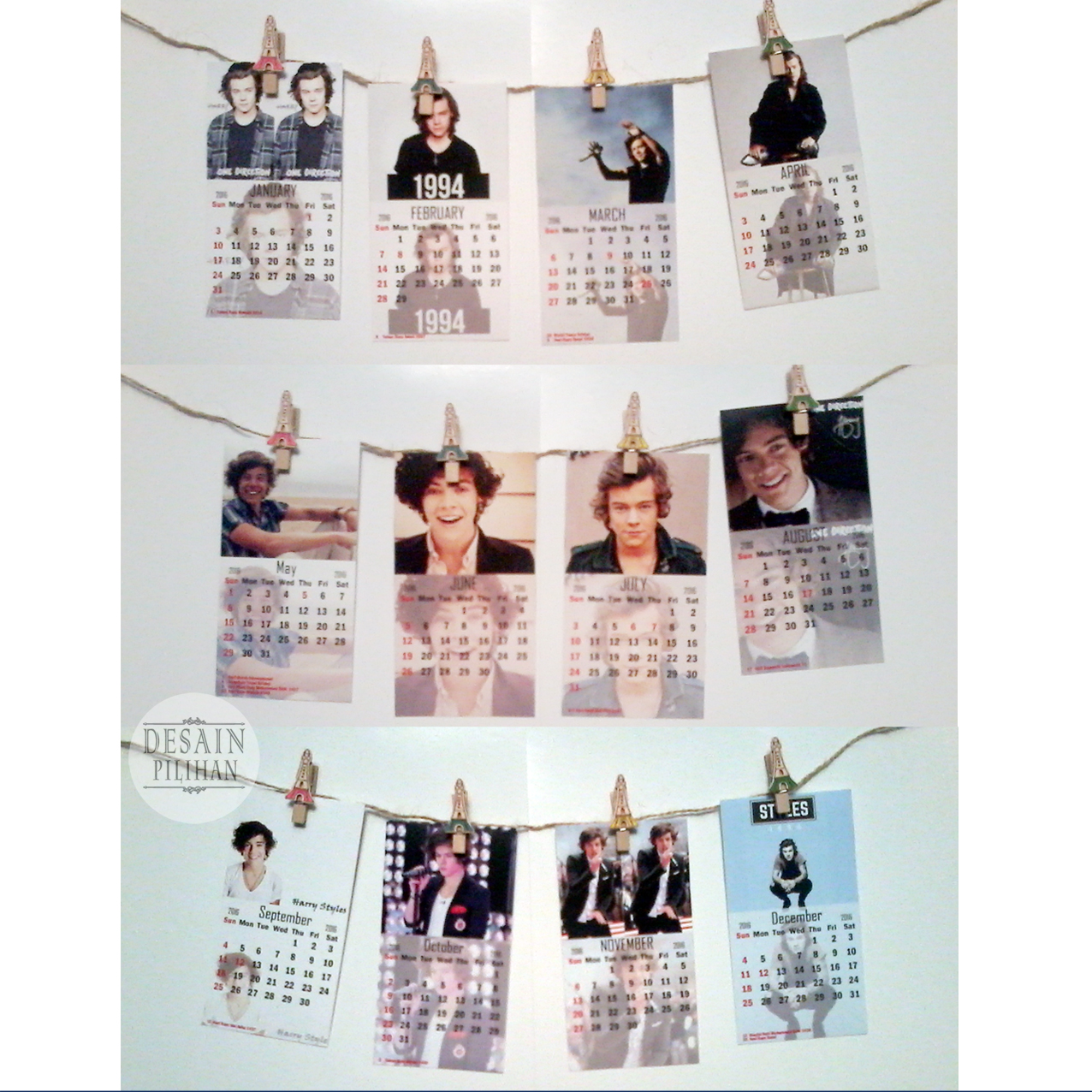 JUAL KALENDER POSTER MINI, KALENDER POSTER MINI CUSTOM HARRY STYLE ONE DIRECTION MURAH