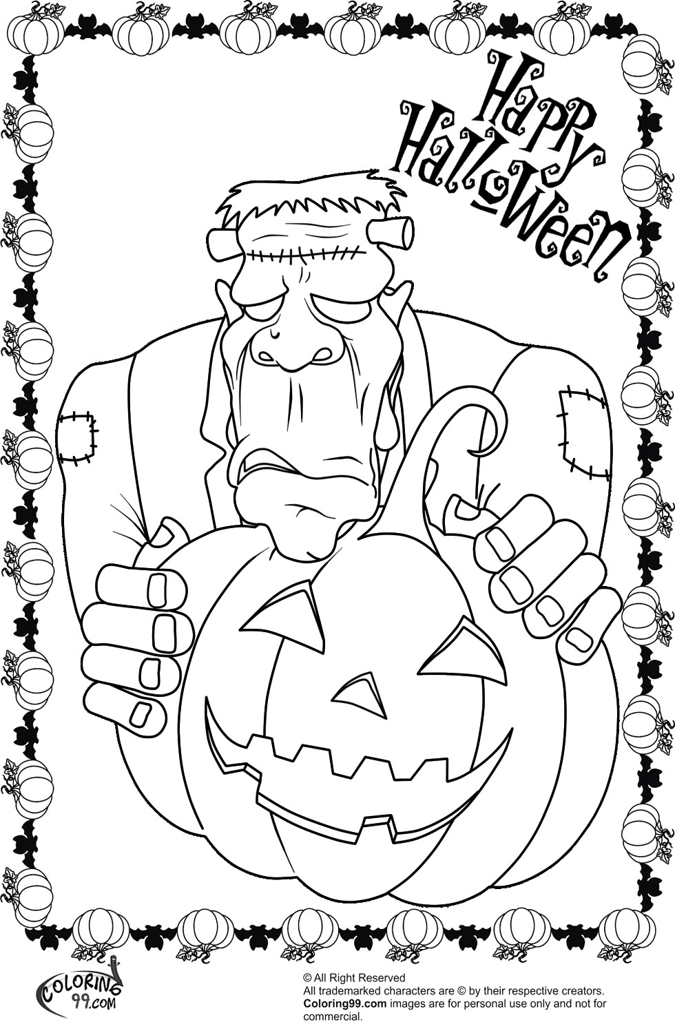 Frankenstein Halloween Coloring Pages | Team colors