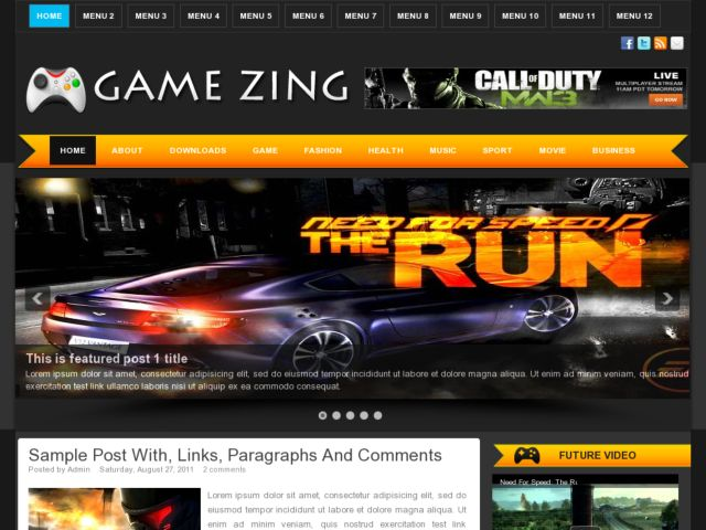 Game Zing Blogger Template