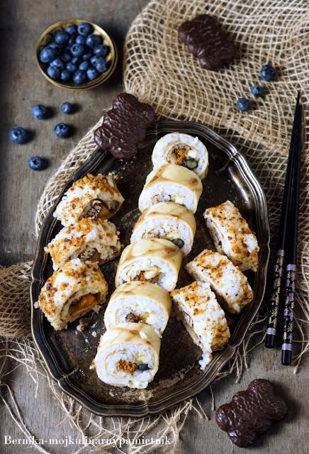 sushi, piernik, deser, batonik, slodycze, bernika, kulinarny pamietnik