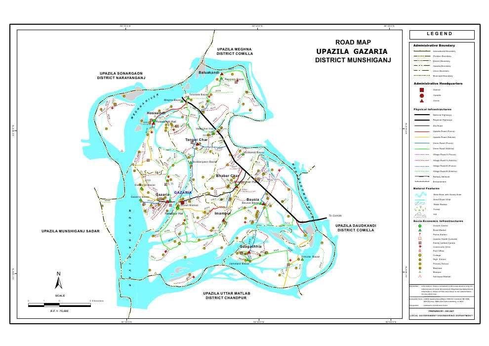 Gazaria Upazila Road Map Munshiganj District Bangladesh