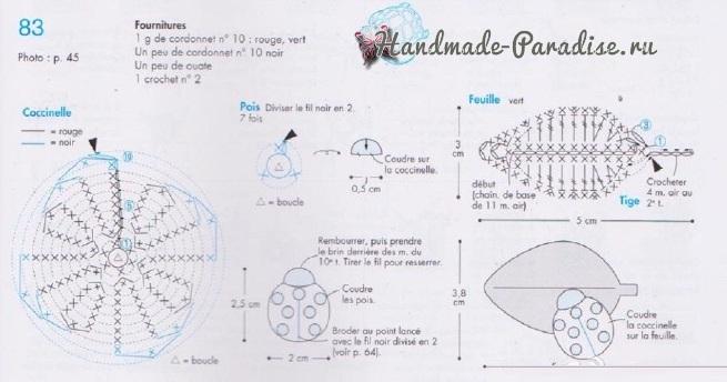 Схемы вязания бабочек и насекомых амигуруми (3)