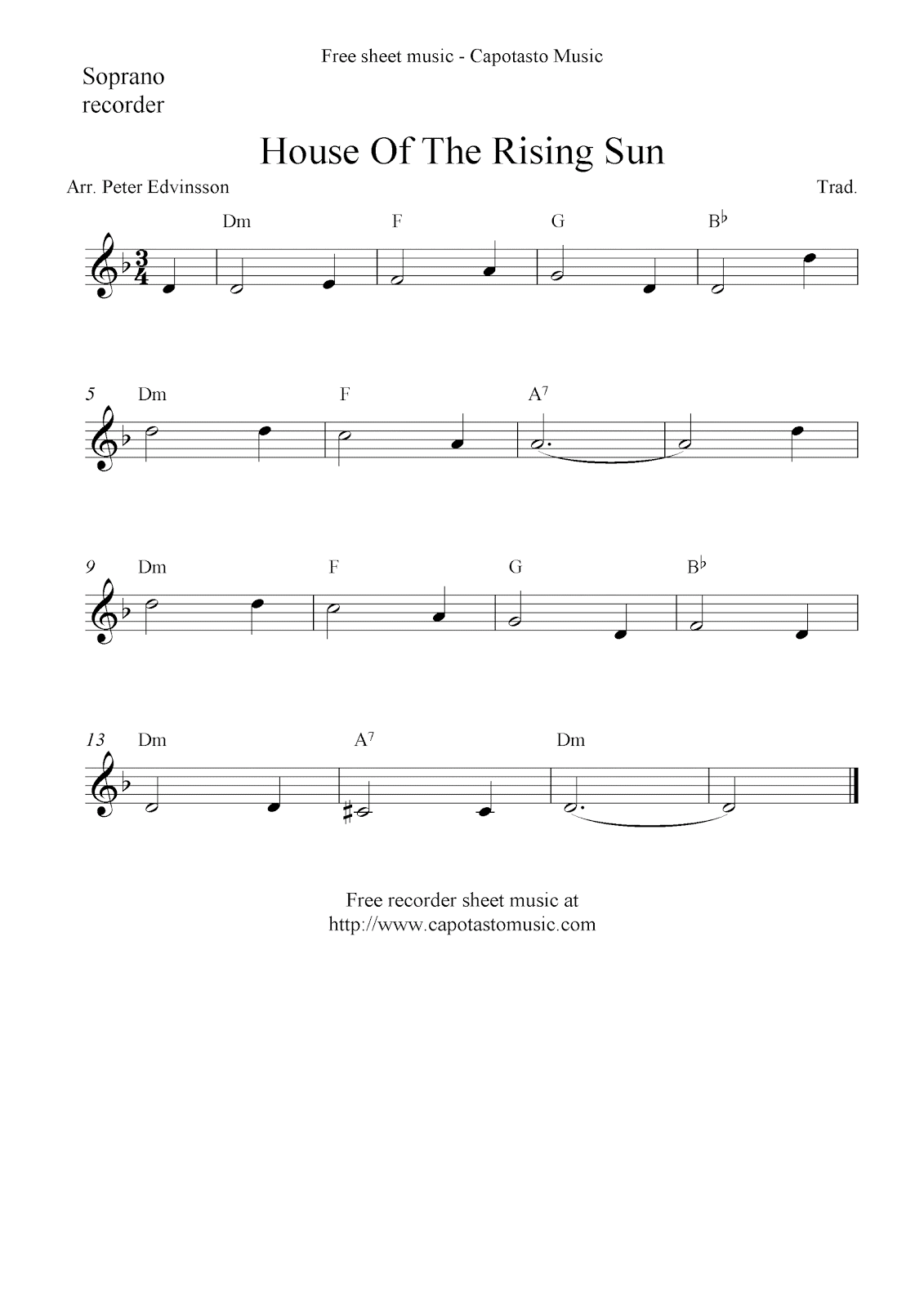 House Of The Rising Sun Classical Guitar Sheet Music