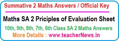 SA 3 Maths Answers Key Sheet Summative 3 Official Principles of Evaluation